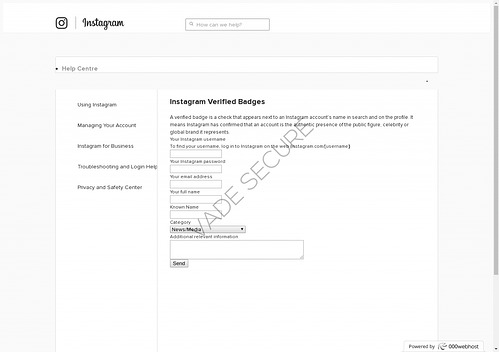 Instagram Phishing Page: Verified Badge Scam