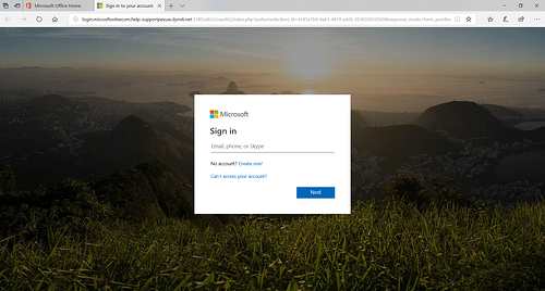 Microsoft Office 365 Phishing Page