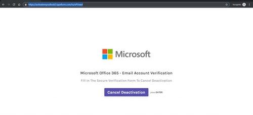 Microsoft phishing page using Typeform