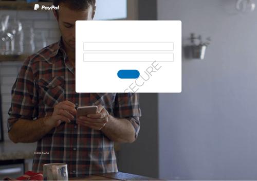 PayPal phishing page