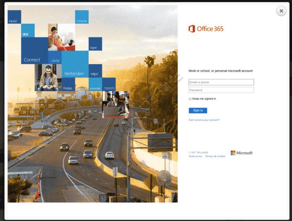 Phishing ciblant Office 365