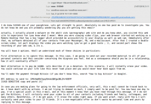 Sextortion scam email example