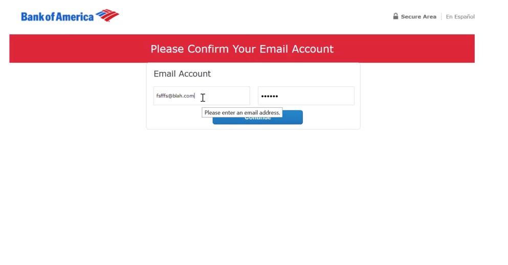 Fausse page de connexion à Bank of America