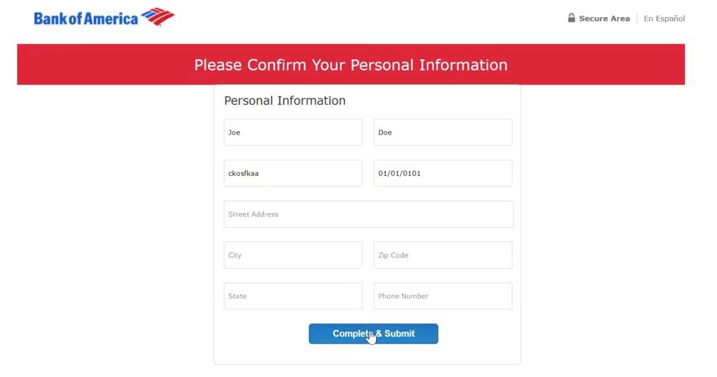 Formulaire de phishing pour Bank of America