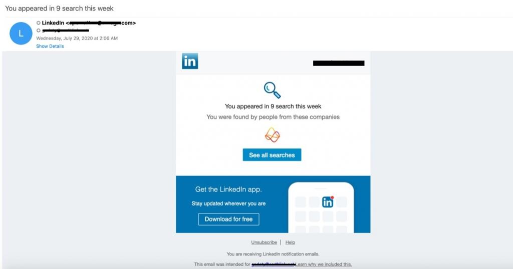 LinkedIn phishing email