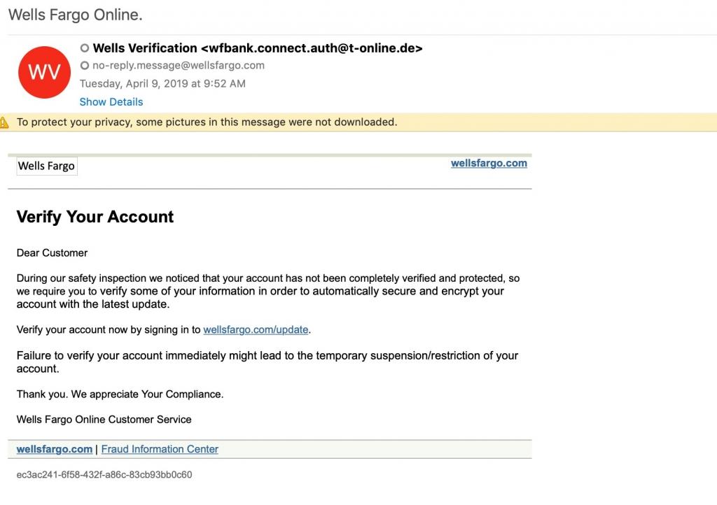 Email de phishing Wells Fargo