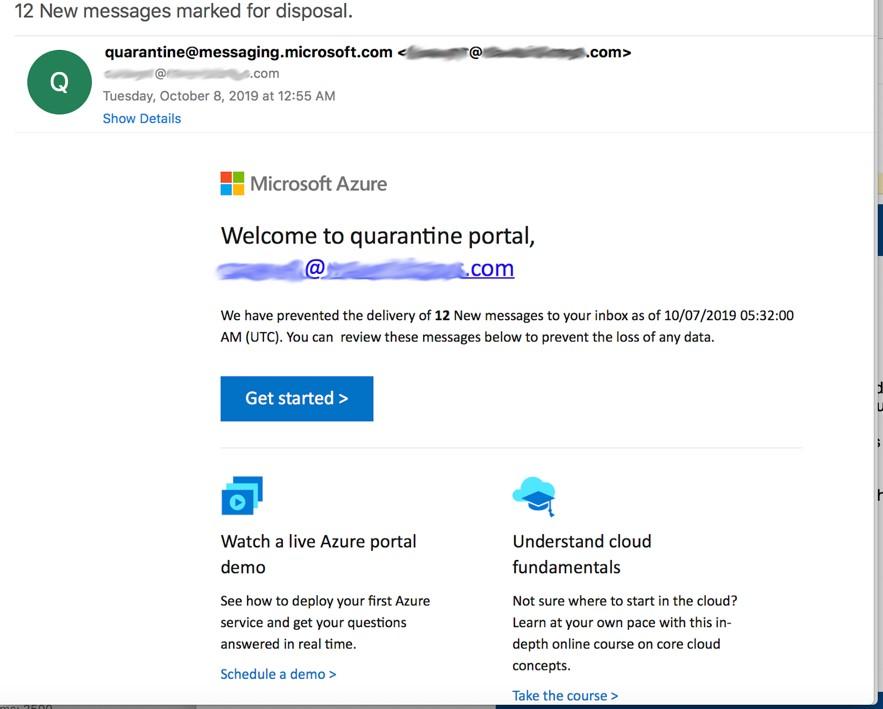 Email de phishing Microsoft Azure