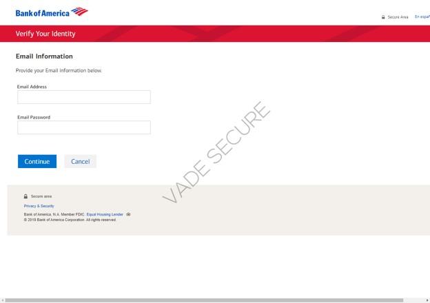 pages de phishing se faisant passer pour une page de Bank of America