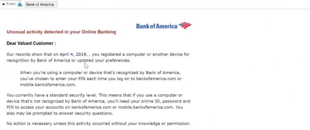 Phishing visant Bank of America
