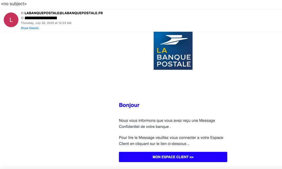 Phishing with email notification from La Banque Postale