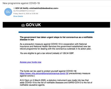 Phishing axé sur la pandémie de COVID-19