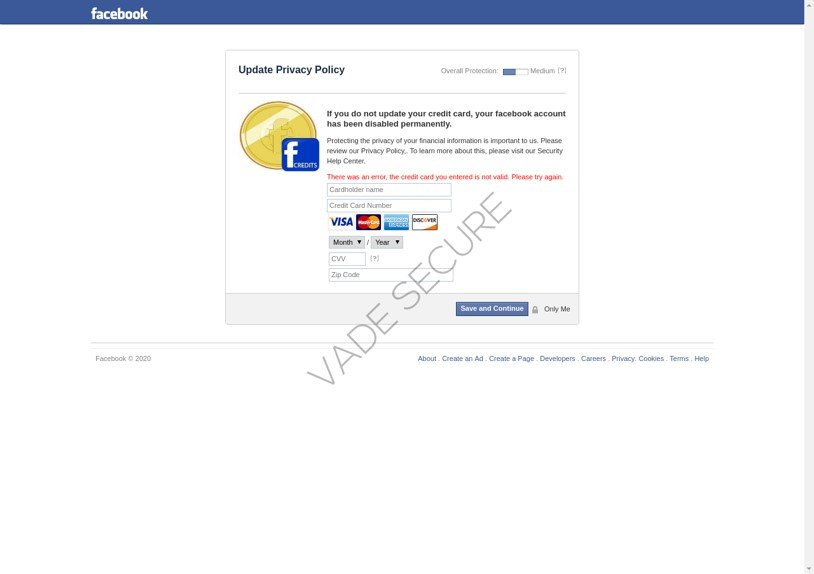 Credit card harvesting Facebook phishing page