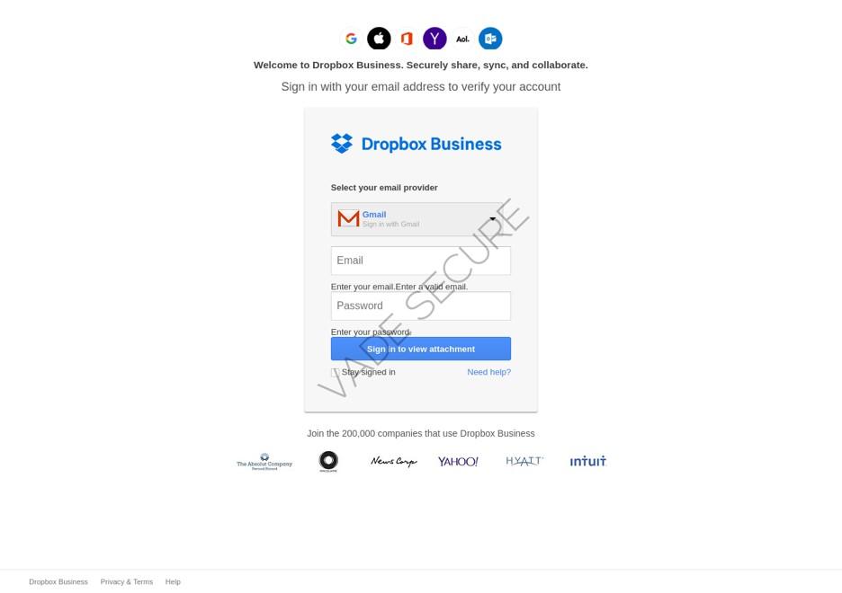 La page de phishing ci-dessous se fait passer pour une page Dropbox Business