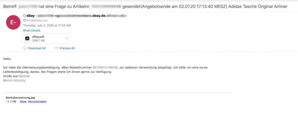eBay phishing email