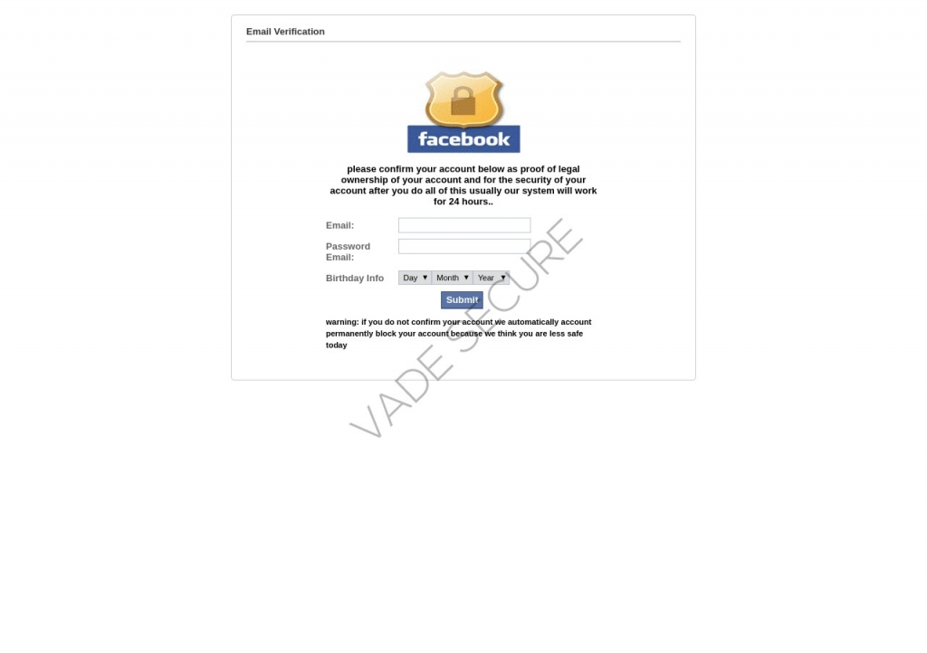 Facebook email verification phishing page