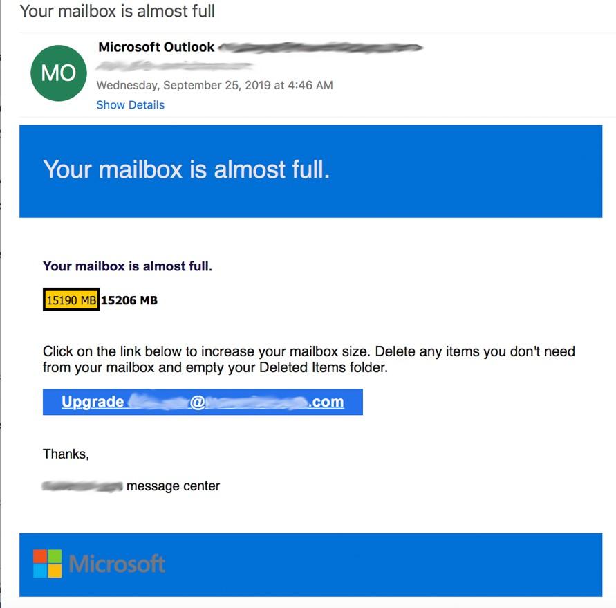 Microsoft phishing email