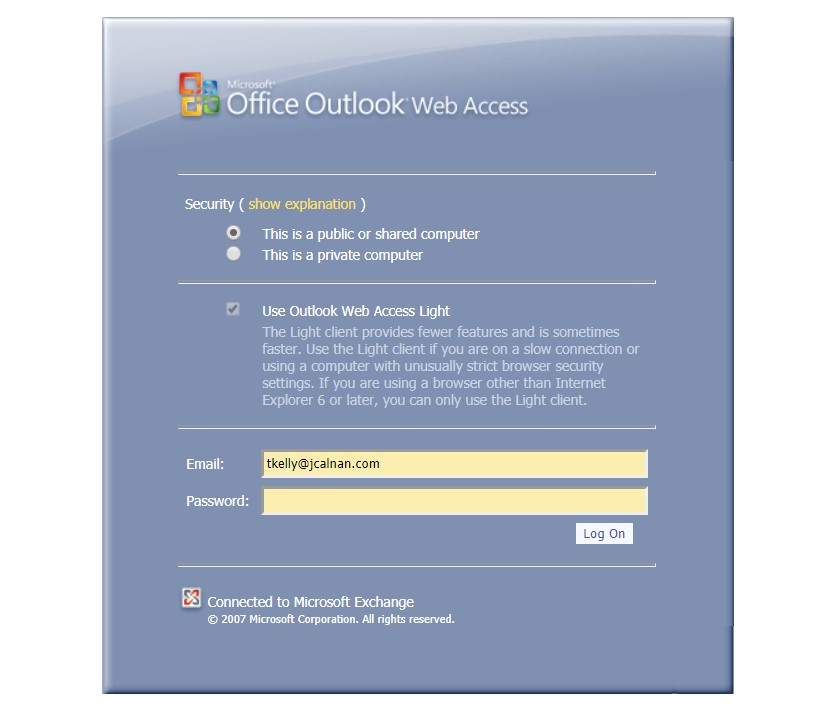 Outlook Web Access login page