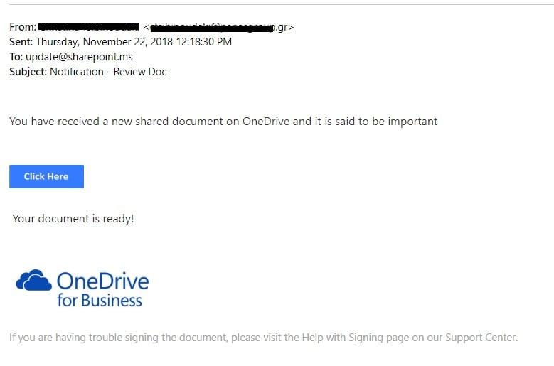 OneDrive phishing email