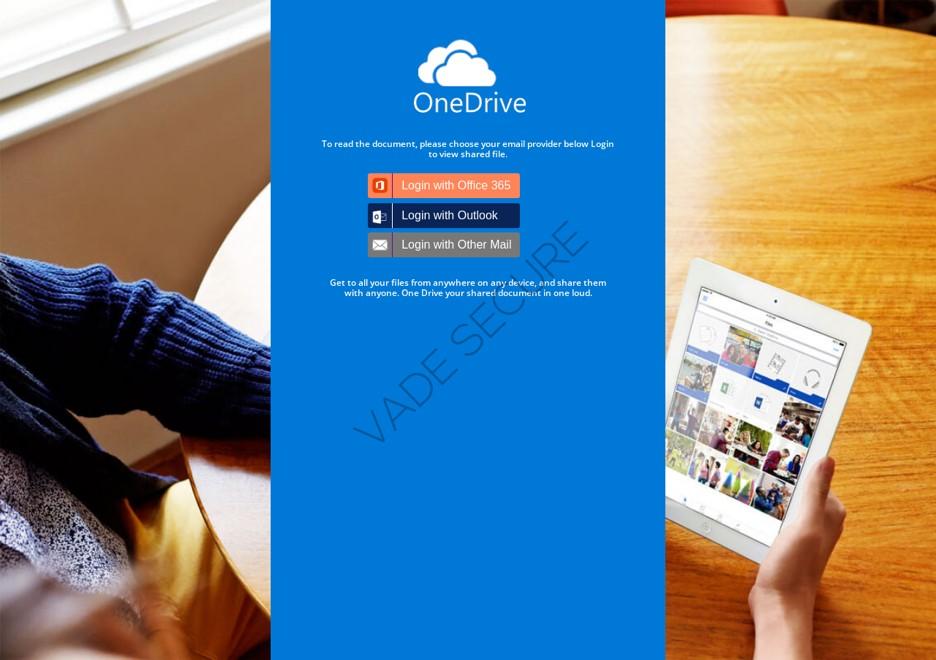 page de phishing usurpe la marque OneDrive