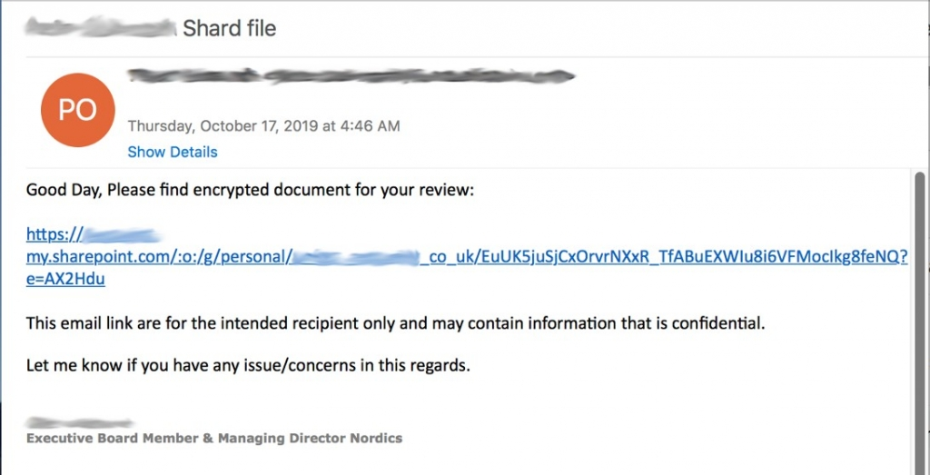 Compromised Microsoft 365 account with phishing URL