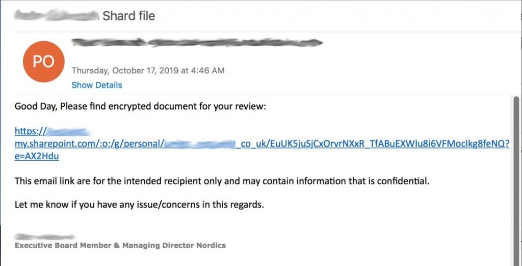 Gehacktes Microsoft 365-Konto mit Phishing-URL