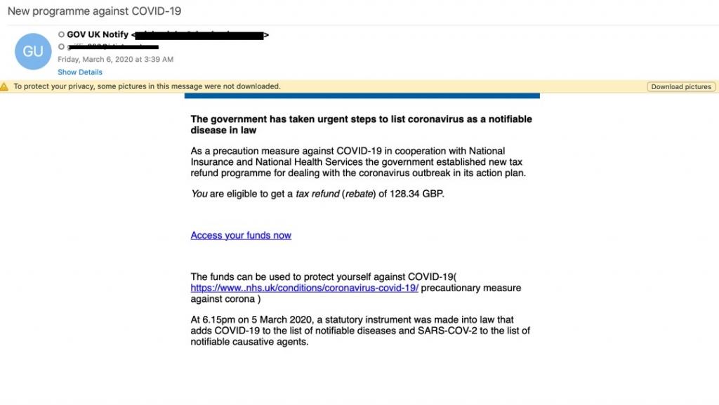 NHS phishing email
