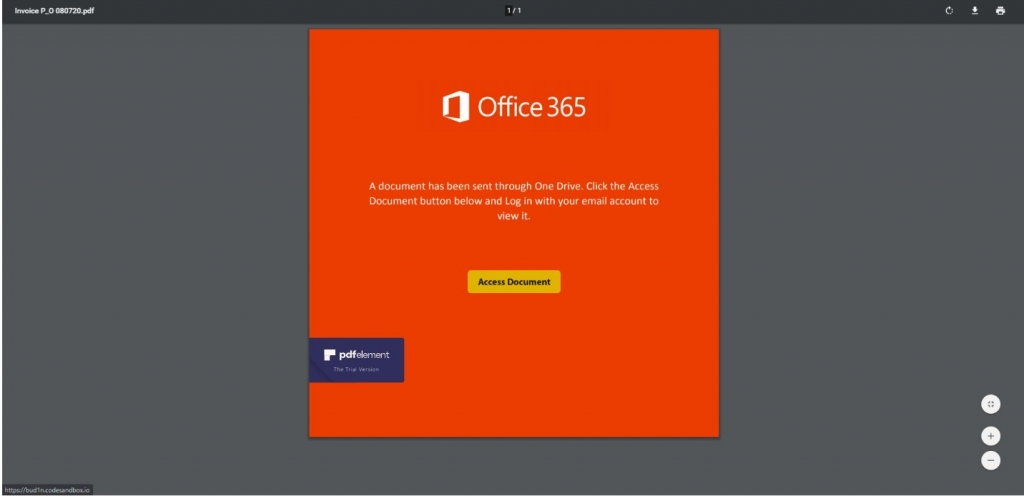 Office 365 phishing page