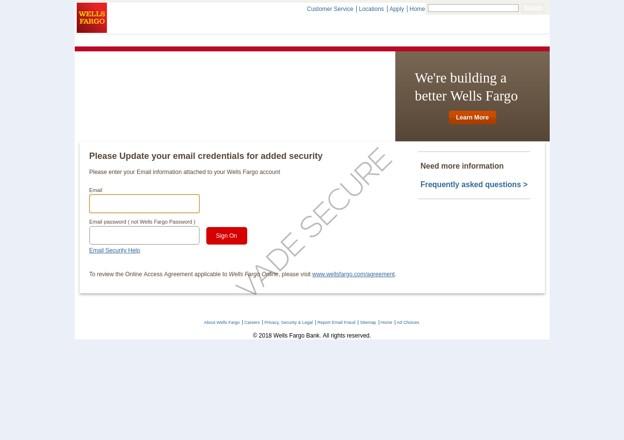 pages de phishing se faisant passer pour une page de Wells Fargo