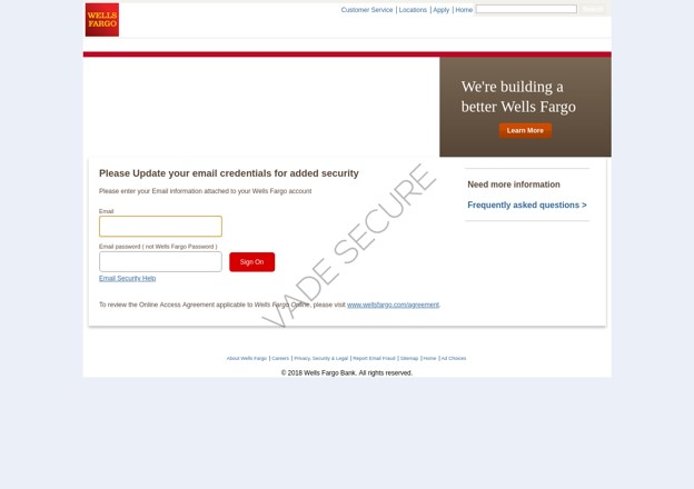 phishing pages impersonating and Wells Fargo